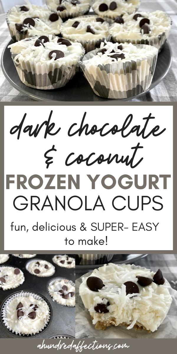 collage of dark chocolate and coconut frozen yogurt granola cups