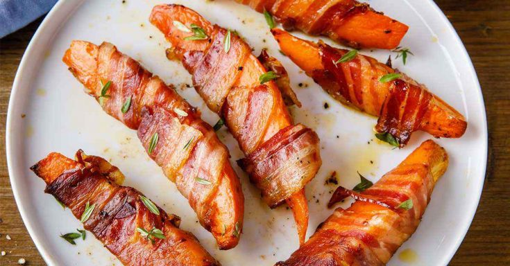 Bacon Wrapped Sweet Potato Wedges