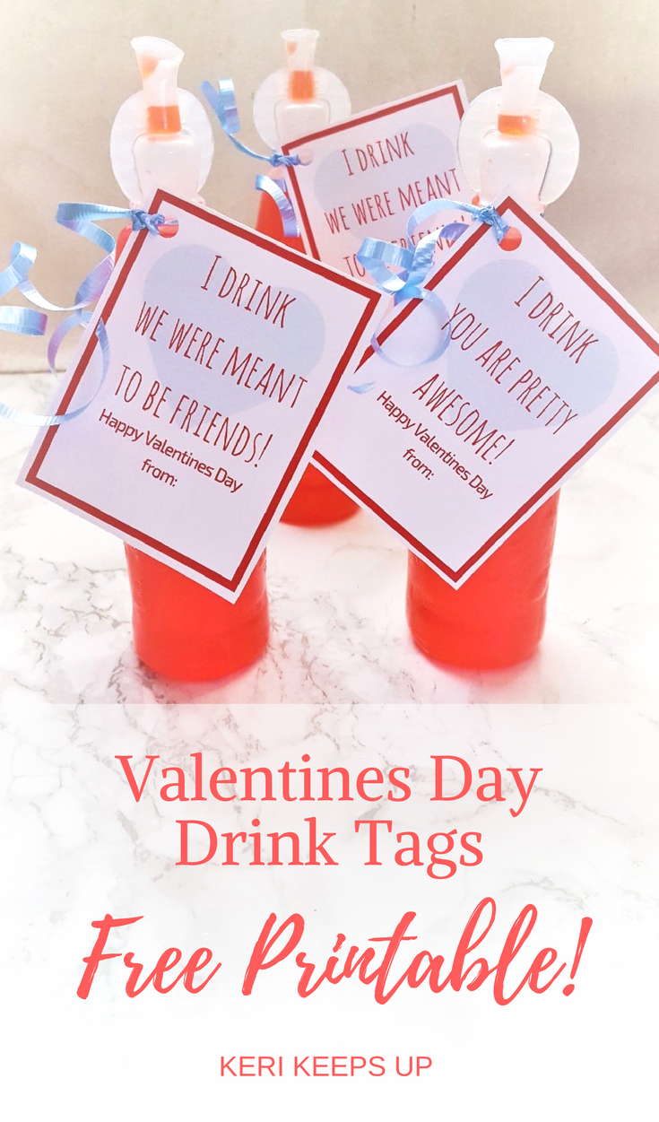 Drink Valentines Day Cards with Free Printable