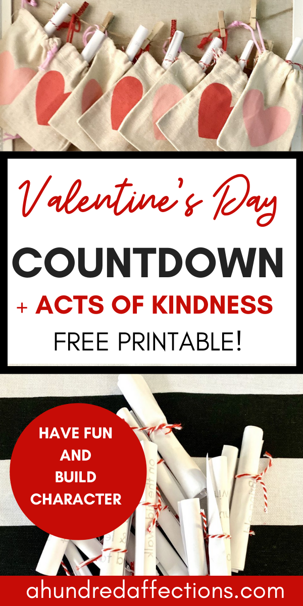 Collage Valentine's Day Countdown + Acts of Kindness Free printable for kids- burlap heart sacks hanging on twine with clothespins, rolled papers tied with red bakers twine