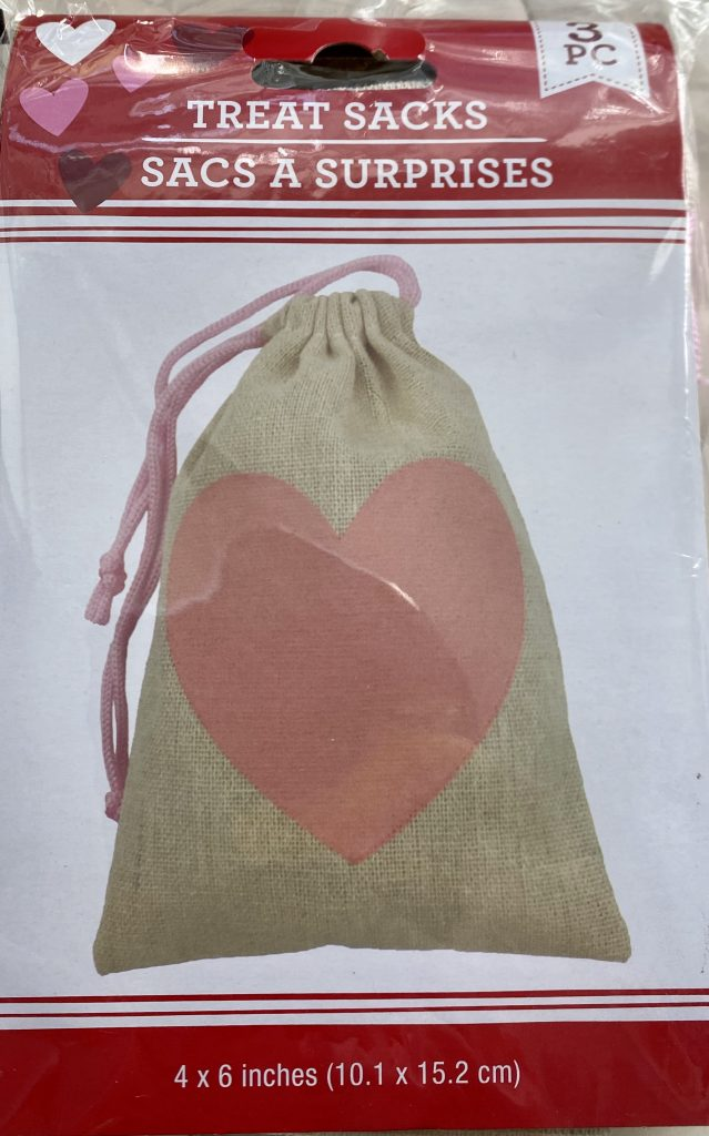 Burlap treat sack with pink heart from Dollar Tree