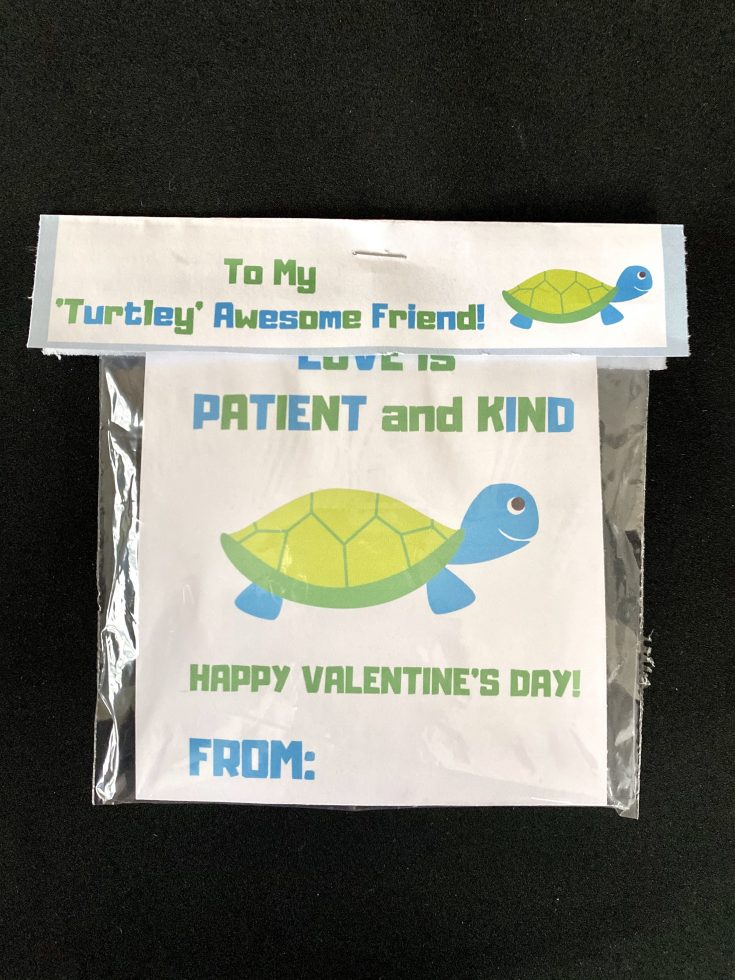 To my 'turtley' awesome friend treat bag topper with love is patient and kind' turtle free printable Valentine's Day card for kids