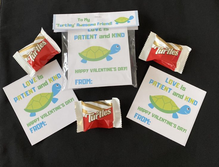 Spread of Love is Patient and Kind Valentine's Day free printable cards for kids laid out, one with 'To My Turtley Awesome Friend' treat bag topper, spread with Turtles candy